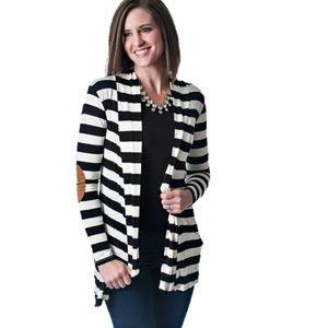 Stripe Cardigan Open Front Elbow Patches